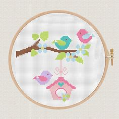 Birds cross stitch pattern Tree Modern cross от AnimalsCrossStitch The Effective Pictures We Offer Y Cross Stitch Tree, Cute Cross Stitch, Baby Cross Stitch Patterns, Cross Stitch Designs, Le Point, Cross Stitching, Embroidery, Etsy, Heart Flower