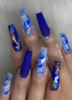 pretty nail art designsmix and match nail art design acrylic nail art nail designs with glitter nail art designs 2019 beautiful nail art designs images latest nail art d. Dark Blue Nails, Blue Coffin Nails, Blue Acrylic Nails, Summer Acrylic Nails, Bright Blue Nails, White Acrylics, Cute Acrylic Nail Designs, Blue Nail Designs, Art Designs
