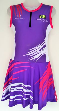 A bright and creative A-Line netball dress we designed for a netball club, visit http://www.custom-made-sportswear.com/  to design your own A-line netball dress in a few easy steps