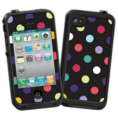 Polka Dot Explosion on Black Skin for the LifeProof iPhone 4/4S Case