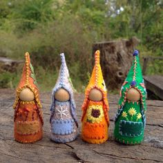 Four seasons Gnome-set, Waldorf inspired natural storytelling dolls by #SandStormsArt