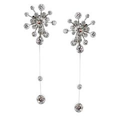 Fred Paris Rosee du Matin Diamond Gold Earrings | From a unique collection of vintage dangle earrings at https://www.1stdibs.com/jewelry/earrings/dangle-earrings/
