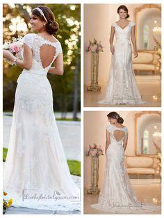Lace Over Illusion Cap Sleeves V-neck Wedding Dresses with Keyhole Back