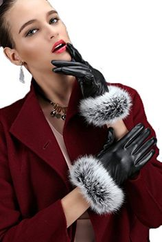 Women's Winter Faux Leather Touchscreen Texting Gloves Fur Trim Cuff *** Want additional info? Click on the image.