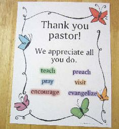 October is Pastor Appreciation Month. Put this poster on a bulletin board. Download from http://www.teacherhelp.org/holidays4.htm