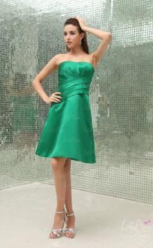 A-line Strapless Satin Draped Knee Length Homecoming Dresses