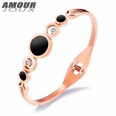 AMOURJOUX Hollow Design Gold Color Two Round Charm Bangles For Women With Clear Zircon 316L Stainless Steel Bracelet Woman Gift #Affiliate