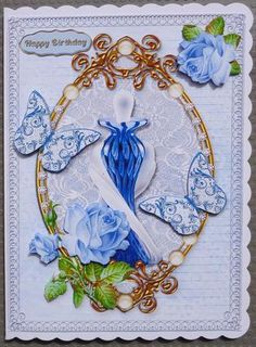 Blue Perfume Bottle on Craftsuprint designed by June Young - made by Linda Short - Printed on matt photo paper and attached to white scalloped card. Built up image with foam pads and added sentiment. A beautiful design. - Now available for download!