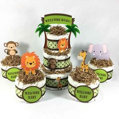 Safari Themed Baby Shower Diaper Cake Centerpiece Set by Chic Baby Cakes.