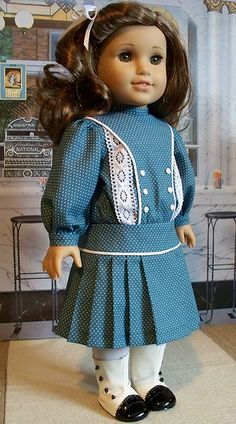 1914 teal dotted frock