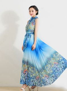 You will like a flower beautiful Spring And Summer Long Flowing Floral Dress Blue XX15032215-2http://www.clothing-dropship.com
