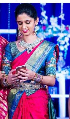 Sparklin g Bride in Red and Blue Silk Saree Silk Saree Banarasi, Blue Silk Saree, Satin Saree, Saree Blouse Neck Designs, Lehenga Designs, Saree Collection, Bridal Collection, Indian Wedding Jewelry, Elegant Saree