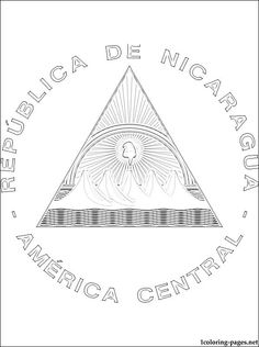 Nicaragua coat of arms coloring page | Coloring pages