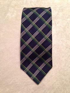 Men's Brooks Brothers Makers Navy Plaid Pure Silk Dress Neck Tie #BrooksBrothers #NeckTie