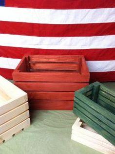4 slate wood crates