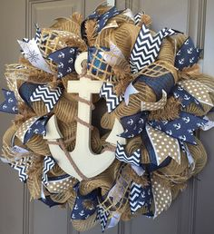 Anchor Nautical Burlap/Deco Mesh Wreath