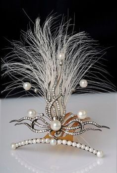 An antique gold, silver, diamond and natural pear aigrette, French, 19th century. #antique #aigrette