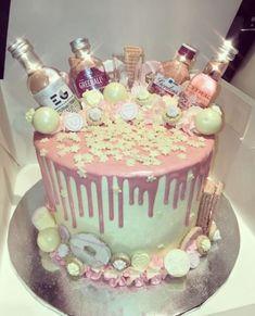 Birthday Cake Pink Gin - Bake a Cake 2019 35th Birthday Cakes, 50th Birthday Cake For Women, 21st Bday Cake, 40th Birthday Party Ideas For Women, 30th Birthday Cake For Her, Birthday Beer, Happy Birthday, Liquor Cake, Alcohol Cake