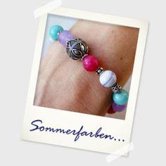 Sommerfarben! Buntes Traumarmband mit Halbedelsteinen und Silber von Perlotte Schmuck,   Perlotte Schmuck