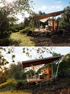 This modern outdoor pavilion has sloped roof, deck, a kitchen and an outdoor shower. #Architecture #Pavilion #OutdoorSpace