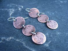 Items similar to Triple Copper Circular Earrings with Silver Accents - Upcycled Recycled Repurposed on Etsy Repurposed, Upcycle, Copper, Drop Earrings, Silver, Etsy, Jewelry, Jewlery, Upcycling