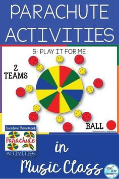 Parachute Activities for the Music and PE classroom. Perfect for End-of-Year Activities. Keep hands busy and engaged. Watch the fun SOAR! Kindergarten Music, Preschool Music, Teaching Music, Preschool Library, Student Teaching, School Teacher, Teacher Stuff, Music Lessons For Kids, Music Lesson Plans