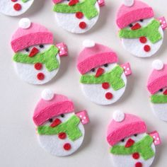 Hot Pink and Apple Green Snowman Felt Hair Clip - Winter and Holiday Clippies - snowmen barrettes