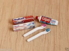 Accessories-Dollhouse-Miniature-toothpaste-toothbrush-set-re-ment-Size-607