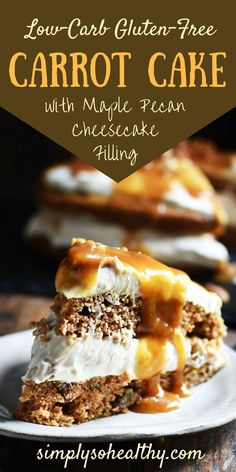 This Low-Carb Carrot Cake with Maple Pecan Cheesecake Filling makes a spectacular and delightful dessert. It can be part of low-carb, ketogenic, Atkins, gluten-free, diabetic, and Banting diets.