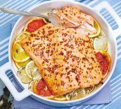 Sticky citrus & mustard glazed salmon