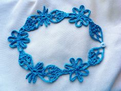 Teal Crochet Necklace  Ready to Ship  by LindenLeasCrochet on Etsy