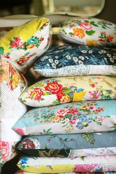 Vintage Fabrics for pillows is a quick way to freshen up your home decor. ~MWP - Getting Clever with Upholstery Fabric | HAPPY LOVES ROSIE
