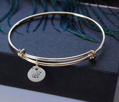 Personalized Initial Monogram Charm Bangle Bracelet, Hand stamped Charm Gold Bangle Bracelet, Bridesmaid, Mothers day Gift