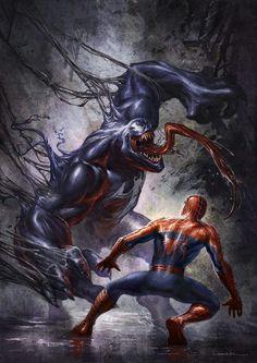 #Spiderman #Fan #Art. (Venom vs. Spider-Man) By: Aaron Limonick. (THE * 5 * STÅR * ÅWARD * OF: * AW YEAH, IT'S MAJOR ÅWESOMENESS!!!™)[THANK Ü 4 PINNING!!!<·><]<©>ÅÅÅ+(OB4E)