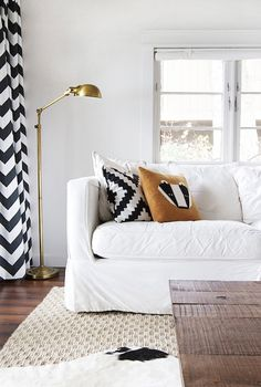 Black and White Curtains - Cottage - living room - Dutch Boy Gray Whisper - Smitten Studio