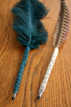 cool DIY lace & feather pens