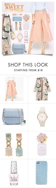 """""""Tropical Trench Coat"""" by sonny-m ❤ liked on Polyvore featuring ASOS, Valentino, Faraone Mennella by R.F.M.A.S., Marc Jacobs, OPI, 2Me Style, Rimmel, women's clothing, women's fashion and women"""