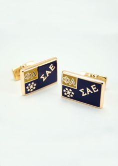 Sigma Alpha Epsilon Gold Plated Flag Cuff Links
