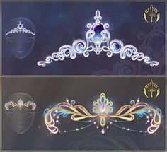 Sun and moon looking tiaras by Rittik-Designs Anime Weapons, Fantasy Weapons, Fantasy Jewelry, Fantasy Art, Magical Jewelry, Anime Dress, Weapon Concept Art, Magic Art, Drawing Clothes