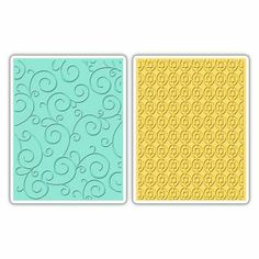Sizzix Textured Impressions Embossing Folders 2er Set - Swirls & Squares in Ovals Set by SB