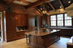 Unique Classic House Design with Spacious Interior: Traditional Kitchen With Beams Ceiling And Exposed Brick Wall Arkley Home ~ SQUAR ESTATE Architecture Inspiration Kitchen Decor, Kitchen Design, Kitchen Ideas, Brick And Wood, Wood Beams, Dark Wood, Classic House Design, Exposed Brick Walls, Cool Kitchens