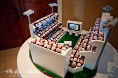 Texas A&M Kyle Field Groom's cake made out of cake balls.