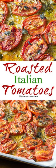 Roasted Italian Tomatoes by Noshing With The Nolands are. Roasted Italian Tomatoes by Noshing With The Nolands are delicious hot off the pan. You can serve these as a side dish or whip them into an amazing sauce. Side Dish Recipes, Veggie Recipes, Vegetarian Recipes, Cooking Recipes, Healthy Recipes, Healthy Dishes, Healthy Meals, Vegan Vegetarian, Easy Recipes