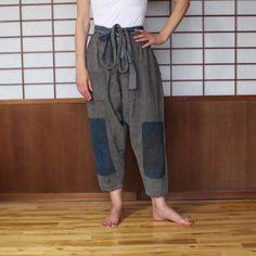 Monpe, Vintage Noragi Japanese Farmer's Pant, Kasuri Striped Cotton Pants, Japanese Boro Patched Pants, Work Wear, Streetwear, Free Shipping by KominkaFabricsJapan on Etsy