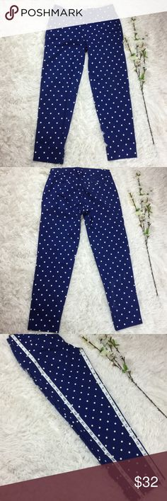 J. Crew blue with white polka dot skimmer pants Blue and white polka dot skimmer pants from J. Crew Factory. Size 0 measurements included in pix. Open to offers or bundle with any other item to save 20% instantly! J. Crew Factory Pants
