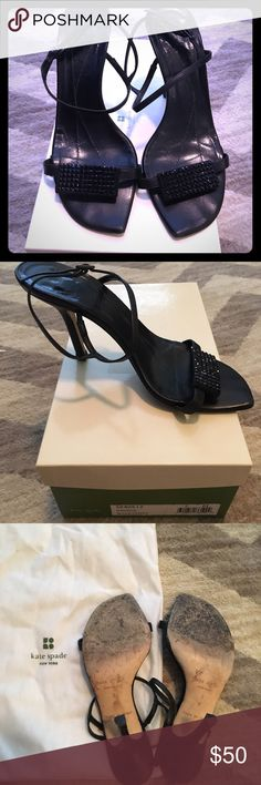 Kate Spade Imperial Black Sparkly Heels Kate Spade Imperial Black Sparkly Heels in size 7. Well-loved with miles to go. Wore these to several special events. Recently replaced heels and had the polished. Comes with original box and duster. Non-smoking home. Leather and crystals are still in very good condition. kate spade Shoes Heels