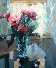 Tulips Against Turquoise, Oil on canvas, 60x50cm, 24x20in