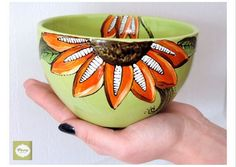 Pottery Painting, Ceramic Painting, Painted Mugs, Hand Painted, Poppy Flower Painting, Green Bowl, Sunflower Design, Cereal Bowls, Mother Day Gifts