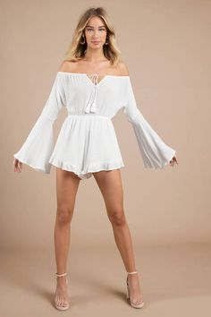 Feel like a celeb in this Malibu Dream Off White Off The Shoulder Romper. This flared romper features bell Sleeves, forgiving gauzy fabric, and a frie Girly Girl Outfits, Pretty Outfits, Cute Outfits, Casual Outfits, Off Shoulder Romper, White Off Shoulder, Off White Shop, Playsuit Romper, Romper Room