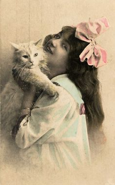 Tinted photo of a girl with a white cat